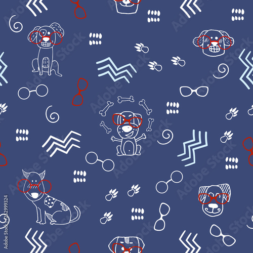 mata magnetyczna Hand doodle seamless pattern with dogs, goggles and abstract elements. Vector textile, wrapping, print fabric, background. Cute surface design, vector illustration