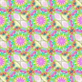 Multicolored flower pattern in fractal design. You can use it for invitations, notebook covers, phone cases, postcards, cards, wallpapers. Artwork for creative design, art and entertainment. - 253002367