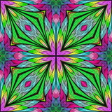 Multicolored floral pattern in stained-glass window style. You can use it for invitations, notebook covers, phone cases, postcards, cards, wallpapers and so on. Artwork for creative design. - 253002991