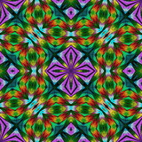 Multicolored floral pattern in stained-glass window style. You can use it for invitations, notebook covers, phone cases, postcards, cards, wallpapers and so on. Artwork for creative design. - 253003364