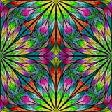 Multicolored floral pattern in stained-glass window style. You can use it for invitations, notebook covers, phone cases, postcards, cards, wallpapers and so on. Artwork for creative design. - 253003767