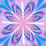 Beautiful multicolored fractal flower. Collection - frosty pattern. You can use it for invitations, notebook covers, phone case, postcards, cards, wallpapers. Artwork for creative design, art. - 253004753