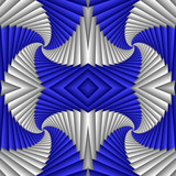 Seamless abstract festive pattern, blue and white. Tiled ethnic pattern. Geometric mosaic. Great for tapestry, carpet, blanket, bedspread, fabric, ceramic tiles, stained glass window, wallpapers - 253014147
