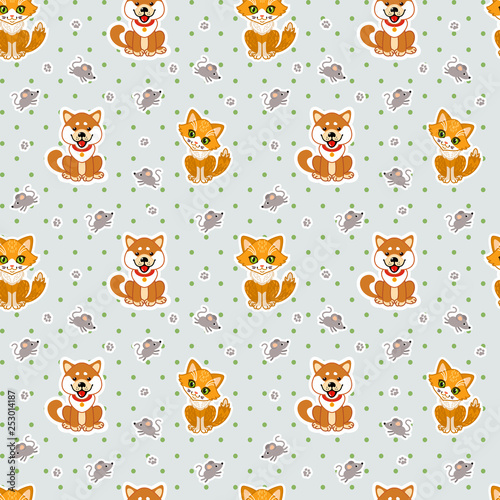 obraz lub plakat Funny Cat, puppy and mouse. Vector seamless pattern for fabric, wallpaper, wrapping paper, for kids.