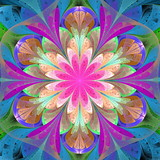 Multicolored fractal flower in stained glass window style. Element of design. You can use it for invitations, notebook covers, phone case, postcards, cards and so on. Artwork for creative design. - 253015788