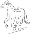 Horse Illustration Black Sketch Running - Vector