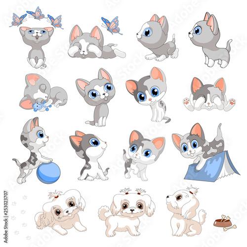 kittens puppies cat dog cartoon set children illustration vector