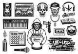 Rap and hip hop music attributes vector objects