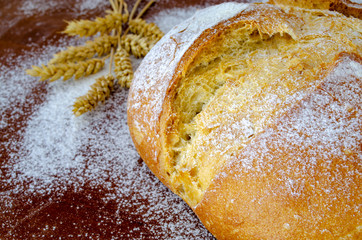 rustic bread on wooden table