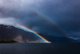Fototapeta Tęcza - Double Rainbow Over Mountains © Amit