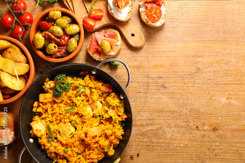 differents sort of spanish food. paella, tapas, potato,mussel - 253048920