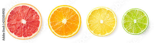 Citrus fruit slices isolated on white background - 253054903