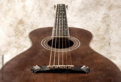 vintage acoustic guitar retro style image