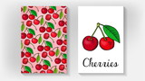 Vector Illustration of Cherries Card Template Sketch Style