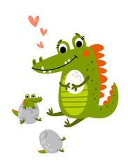 Crocodile mum with children vector illustration