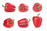 set red pepper on white background