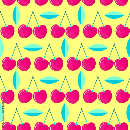 pattern witn cherries and leaves - 253085313