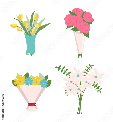 fototapeta na ścianę Flowers in wrapping vector, decoration isolated icons set. Tulips and roses in paper tied with red ribbon, green fern and foliage, rosebud present