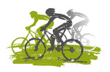 Cycling race, mountain bikers,expressive Stylized.  Illustration of cyclists in full speed. Imitation of hand drawing. Isolated on white background.Vector available.