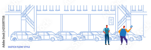 seller man with buyer car purchase sale or rental concept cars dealership center showroom building interior sketch flow style full length horizontal banner vector illustration - 253097758