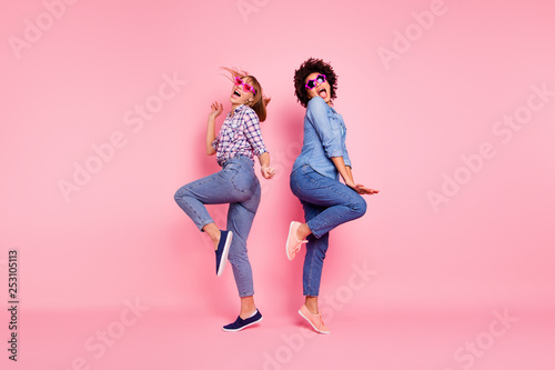 Leinwandbild Motiv Full length body size profile side view portrait of two person nice crazy carefree attractive charming playful cheery girls in casual checkered shirt having fun isolated over pink pastel background