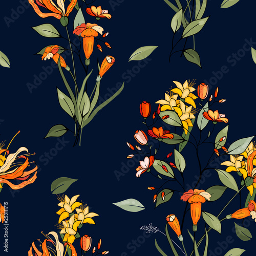 Blooming realistic isolated flowers. Hand drawn vector illustration. Blossom floral seamless pattern. Vintage background.