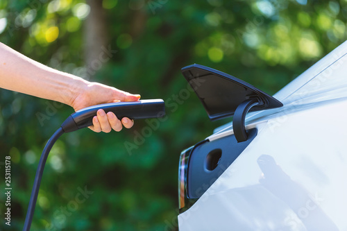 Person charging an electric vehicle with green background - 253115178