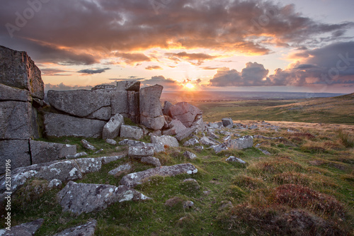 Sunset from Doe tor Dartmoor Devon Uk