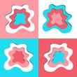 Abstract Vector Paper Cut Shapes Set - 253125908