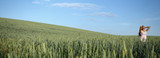 Green wheat field panorama with inspiration girl
