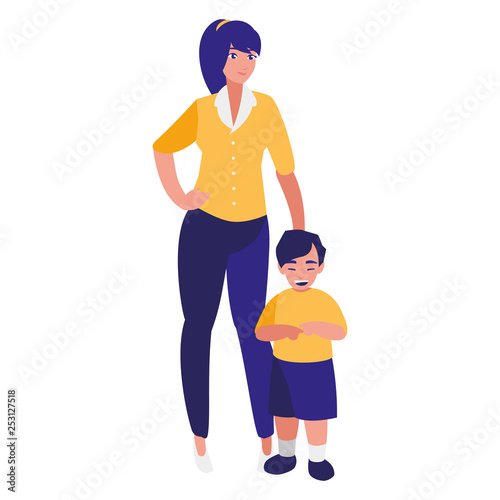 cute mother with son characters