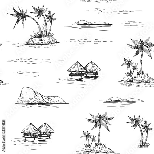 fototapeta na ścianę Seamless patterns with tropical landscapes, palm trees, hawaii. Hand drawn style. Vector outline
