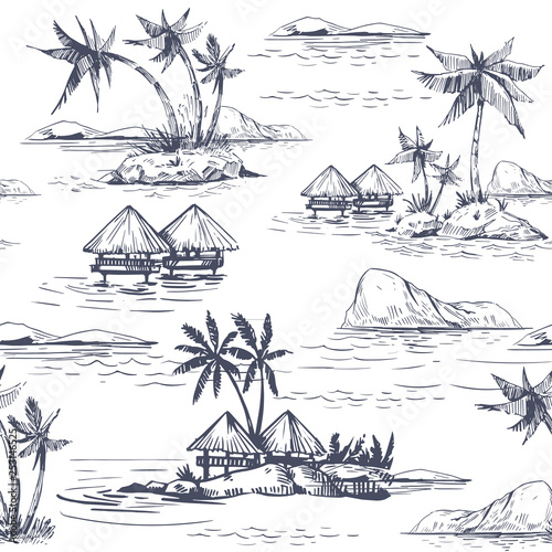 obraz lub plakat Seamless patterns with tropical landscapes, palm trees, hawaii. Hand drawn style. Vector outline