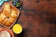 Leinwanddruck Bild - Coffee, juice and croissants breakfast