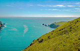 Rock pinnacles in the ocean on the east coast of the Banks Peninsula, South Island, New Zealand