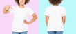 Leinwanddruck Bild - African american girl in white t shirt template on isolated. Blank t shirt design. Front and back view. Mock up and copy space. Cropped image