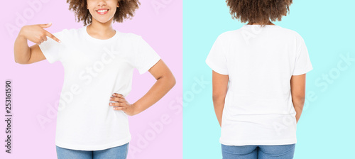 Leinwanddruck Bild African american girl in white t shirt template on isolated. Blank t shirt design. Front and back view. Mock up and copy space. Cropped image