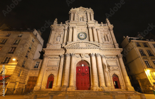 Church of Saint-Paul-Saint-Louis at night , Marais 4th arrondissement , Paris, France.
