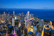 Aerial view of Chicago skyline by night