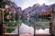 Leinwanddruck Bild - Steg in den See Pragser Wildsee