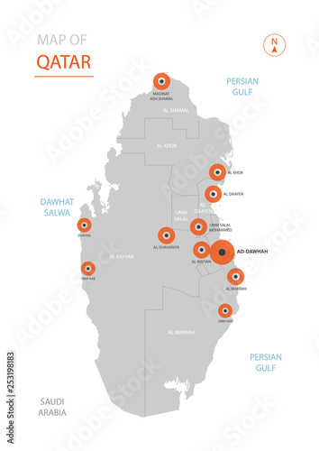 Stylized vector Qatar map showing big cities, capital Doha ...