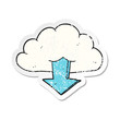 retro distressed sticker of a cartoon download from the cloud