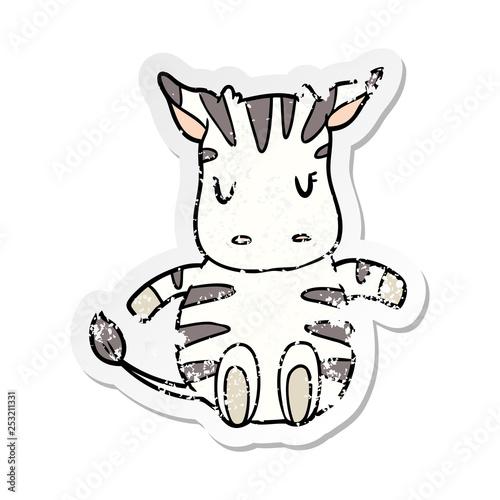 distressed sticker of a cartoon zebra - 253211331