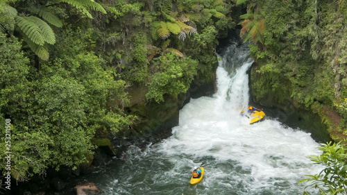 raft caught in new zealand's tutea falls