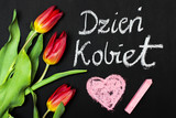 Fototapeta Tulipany - Women's Day card and a bouquet of beautiful tulips on blackboard background, with Polish words