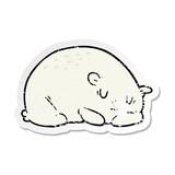 distressed sticker of a cartoon polar bear