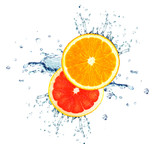 orange and grapefruit splashing water isolated on white