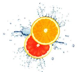 orange and grapefruit splashing water isolated on white