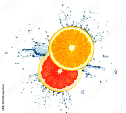 orange and grapefruit splashing water isolated on white - 253230373