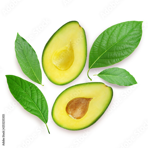 Avocado with leaves isolated on white, with clipping path - 253235303